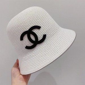 Chanel ladies fisherman sun hat wide brim white